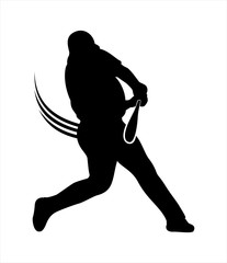 A silhouette image of a baseball player or athlete hitting the ball with his bat possibly making a home-run. The picture is in black color and in a white background