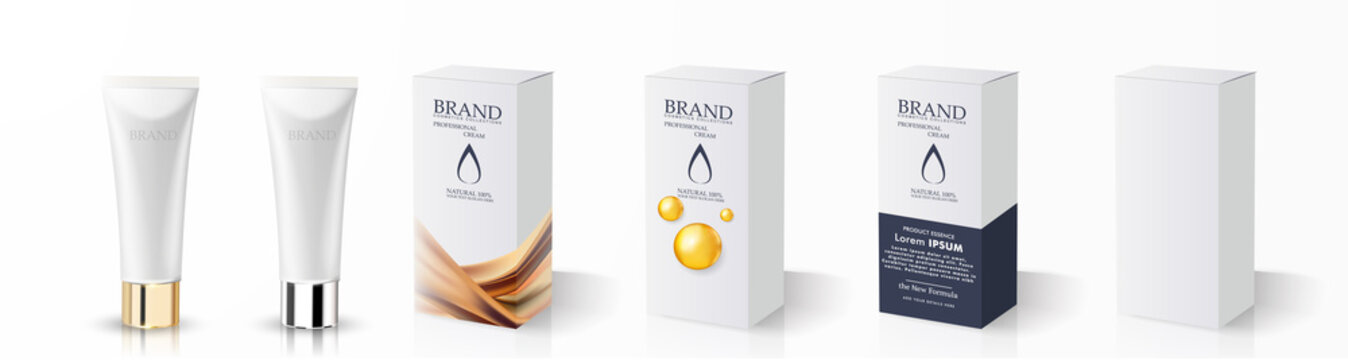 Cream tube and packaging. Ointment or toothpaste box mockup