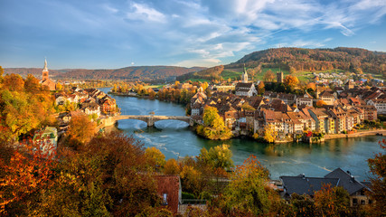 Wall Mural - Laufenburg Old town on Rhine river, Switzerland - Germany border