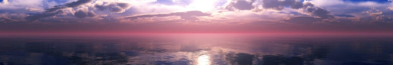 Panorama of a beautiful sea sunset, sunrise over the water,