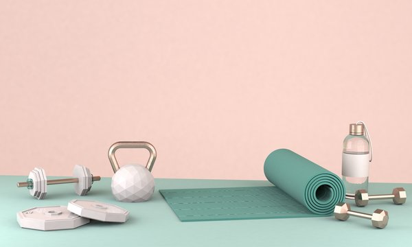 3D rendered illustration . workout equipment for training at home or in studio or gym, female concepr.