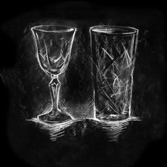 Set of chalk painted glasses for cocktails and wine, drawing on black background