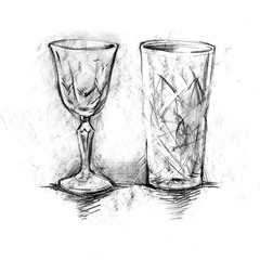 Set of painted glasses for cocktails and wine, drawing on white background