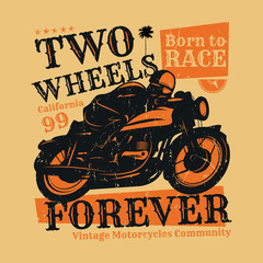 Motorcycle poster with text Two Wheels Forever