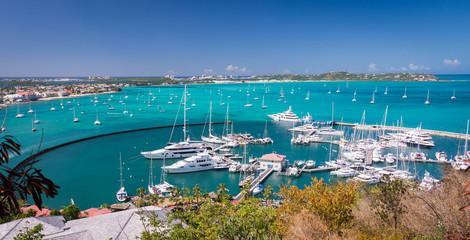 Marigot, St Martin - February 2015: Harbour at Marigot, French capital of St Martin, Caribbean Fototapete