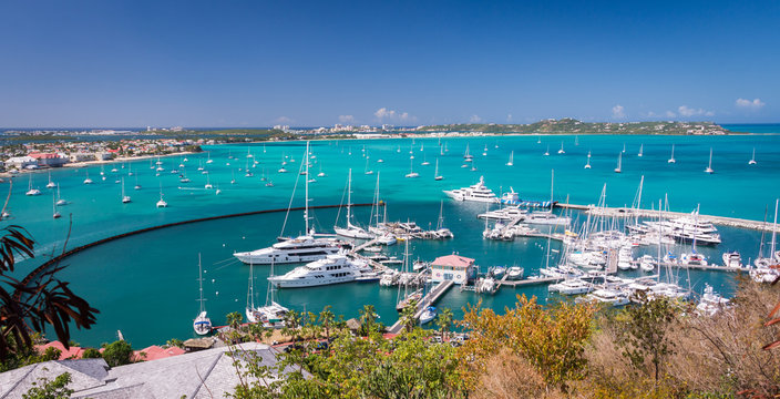 Marigot, St Martin - February 2015: Harbour at Marigot, French capital of St Martin, Caribbean