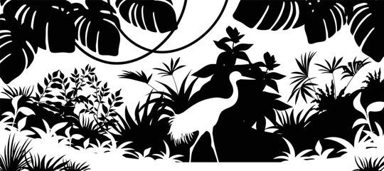Laser cutting background jungle. Silhouette crane, palm and liana. Vector illustration exotic plants.