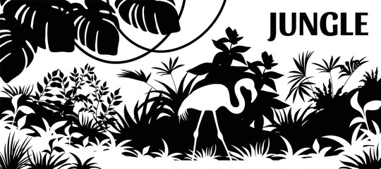Laser cutting background jungle. Silhouette flamingo, palm and liana. Vector illustration exotic plants.