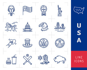 USA icon set, American culture icons. USA flag, American presidents, Uncle Sam hat, Mount Rushmore. Golden Gate Bridge, White House USA. Vector outline illustration