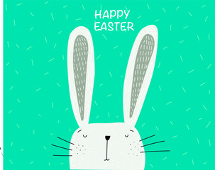Happy Easter hand drawing rabbit card. Green background