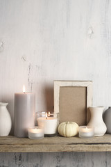 Neutral colored vases and candles as home decor