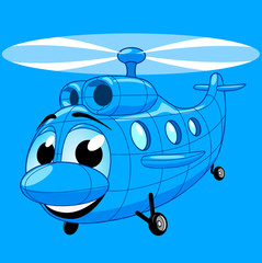 Blue helicopter in cartoon style
