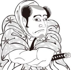 浮世絵 歌舞伎役者 その6 白黒