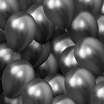 Background with helium balloons. Realistic celebration baloon
