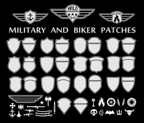 Military and biker patches with wings