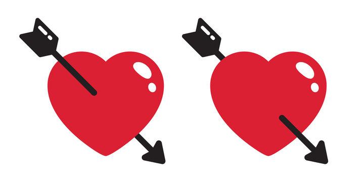 Heart vector valentine arrow icon logo character illustration symbol cartoon doodle
