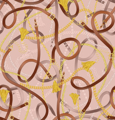 Seamless pattern with belts, chain and tassel for fabric design. Pink seamless background pattern.