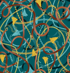 Seamless pattern with belts, chain and tassel for fabric design. Green seamless background pattern.