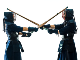 Kendo martial arts fighters in silhouette isolated on white bacground (the japanese script is the name of the fighter ,blank is for the beginners regarding rules )