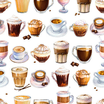 Seamless pattern with different coffee drinks on white background. Illustration of espresso, latte and americano, cappuccino and other tasty coffee. Hand-drawn by markers, watercolor.