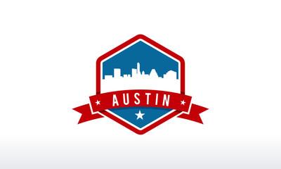 Austin City Skyline Logo badge vector illustration