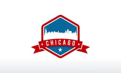 Chicago City Skyline Logo badge vector illustration