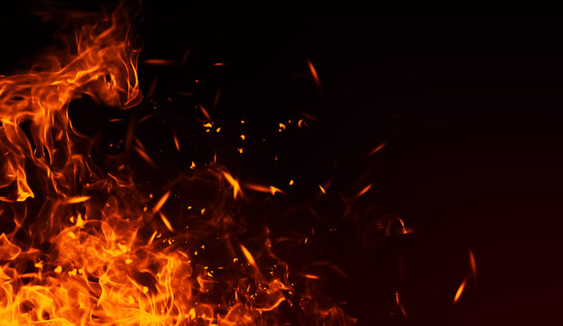 Realistic isolated fire effect  for decoration and covering on black background. Concept of particles , sparkles, flame and light.