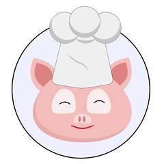 happy pink pig on white background icon concept, accepting orders, food concept