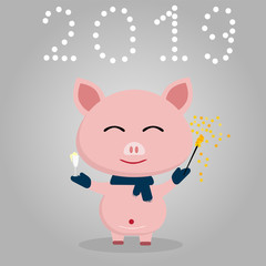 happy pink pig scarf around the neck gray background ssnow in the form of numbers, champagne in hands and Bengal lights, new year concept