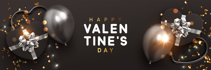 Valentines Day banner. Background design of sparkling lights garland, realistic gifts box with heart shaped, black balloon and glitter gold confetti. Horizontal poster, greeting cards, header, website