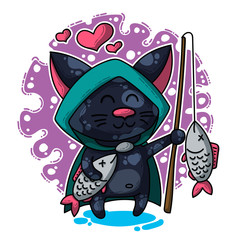 Vector illustration about Cat in love