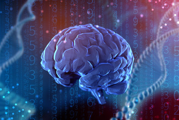3d illustration digital brain. Artificial intelligence and the limitless possibilities of the mind