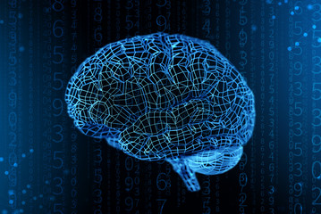 3d illustration grid of digital brain. Artificial intelligence and the limitless possibilities of the mind