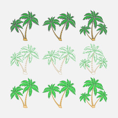 set of silhouettes of palm trees, exotic symbol
