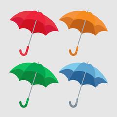 set of umbrellas close-up, multicolored umbrella icon, flat desi