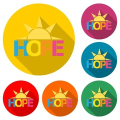 HOPE icon or logo, color set  with long shadow