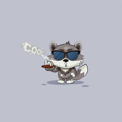 wolf cub pup sticker emoticon smoking cigar
