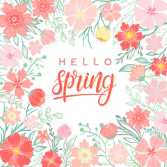 Design card with hand drawn lettering hello spring with floral elements,spring plants, leaves and flowers. Seasons greetings card perfect for prints, flyers,banners,invitations,special offer and more.