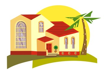 Hacienda, Spanish style home ideal for warm climates