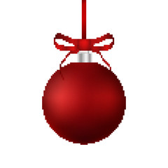 Pixel red christmas ball with bow and ribbon. Vector illustration. Pixel art.