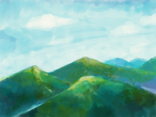 nature landscape with green mountains and sky background illustration.Beautiful scene nature painting