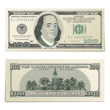 Realistic dummy one hundred USA dollars banknote, front and back detailed coupure on white