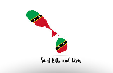 Saint Kitts and Nevis country flag inside map contour design icon logo