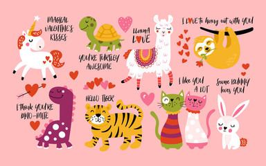Lamas personalizadas infantiles con tu foto Valentine's day cute animals set with llama, sloth, unicorn, cats, dinosaur, bunny, tiger and turtle.