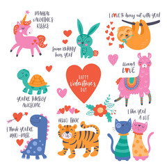 Valentine's day cute animals set with llama, sloth, unicorn, cats, dinosaur, bunny, tiger and turtle