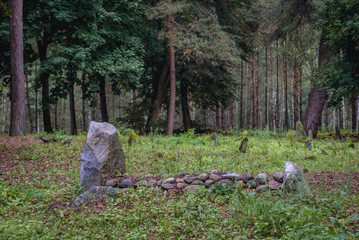 Muslim graves on a cemetery in Kruszyniany, small village in Podlasie region of Poland