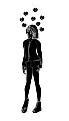 Schattenriss eines hübschen Manga Mädchen. Illustration