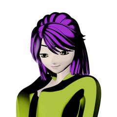 Portrait eines hübschen Anime Mädchen im Zeichentrick Stil. Illustration