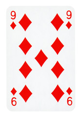 Nine of Diamonds playing card - isolated on white (clipping path included)