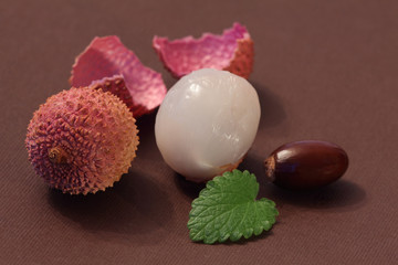 dragon lychee eye, berry, fruit and bone still life